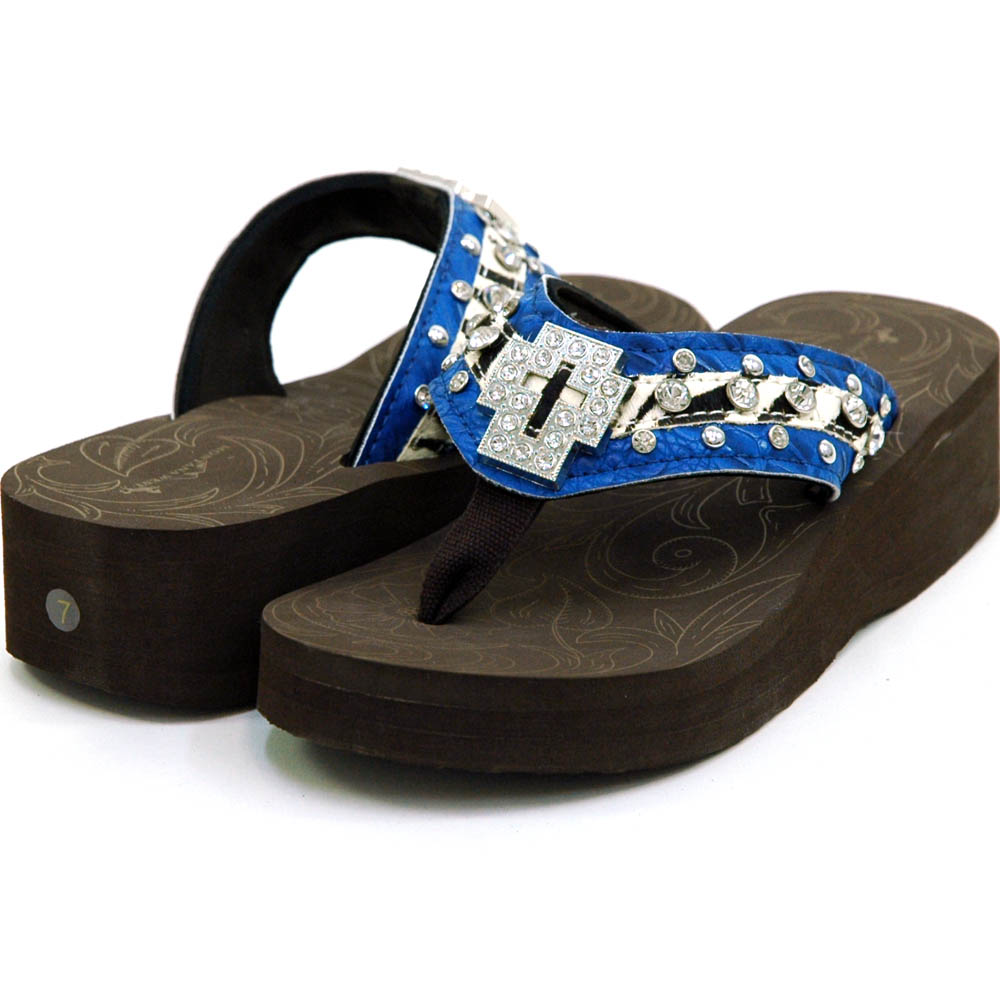 Women's Flip Flops w/ Croco Upper & Cross Accent