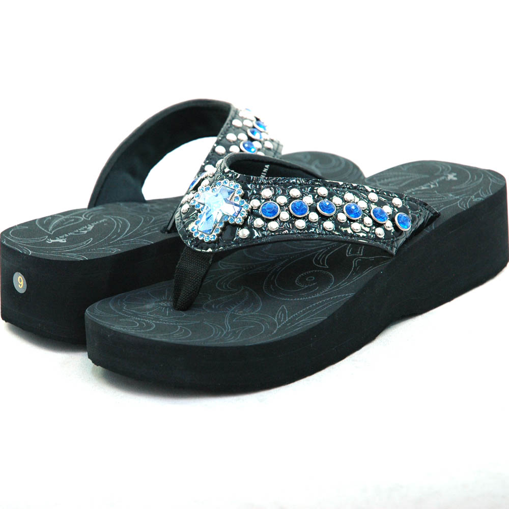 Women's Summer Sandals w/ Jeweled Cross & Rhinestones