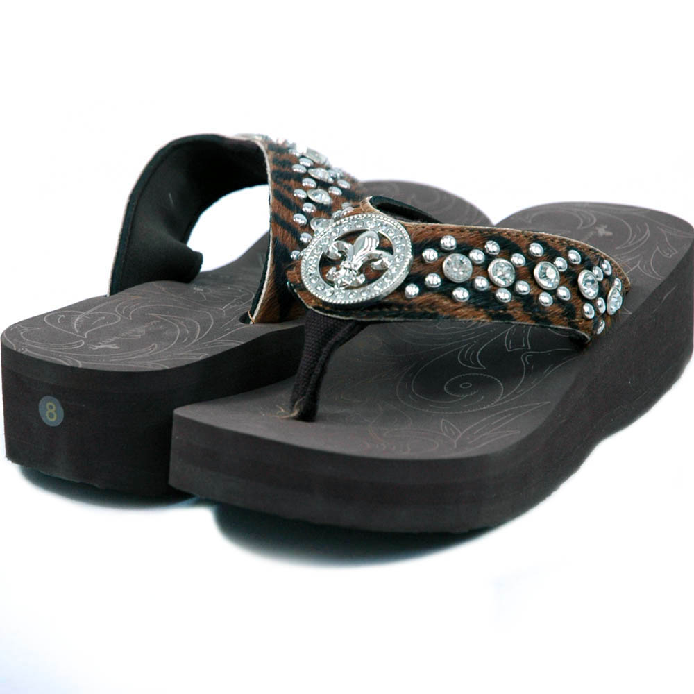 Women's Flip Flops w/ faux fur, Fleur de Lis rhinestone design - Black/Brown