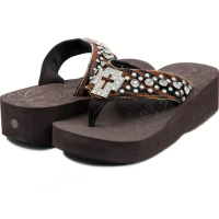 Women's Flip Flops w/ faux fur, cross symbol and rhinestones - Black/Brown