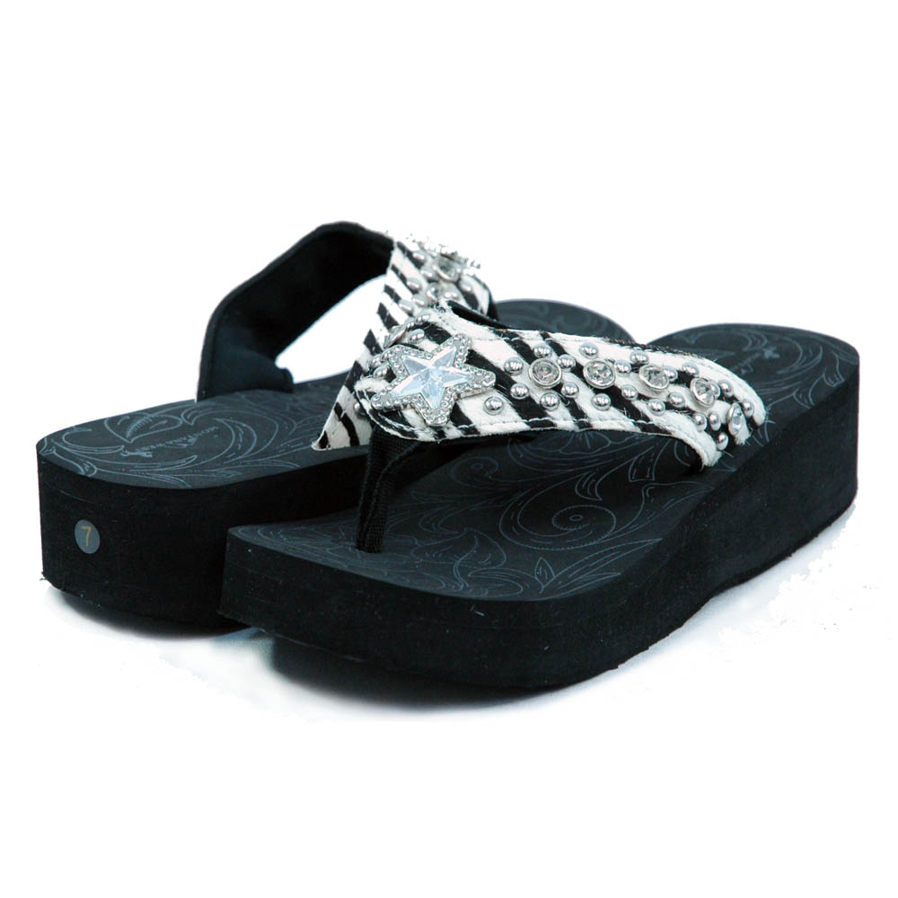 Women's Flip Flops w/ faux fur, rhinestoned star adornment and studs
