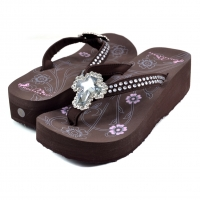 Montana West Western Rhinestone Embellished Flip Flops With Cross Jewel Stone