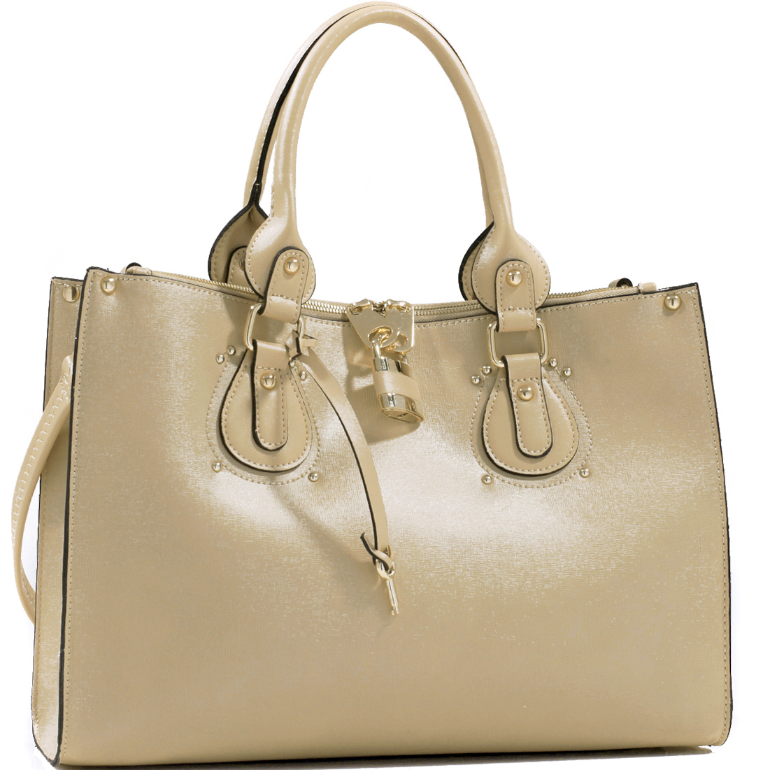 Studded Fashion Tote Bag with Lock Accent & Bonus Strap