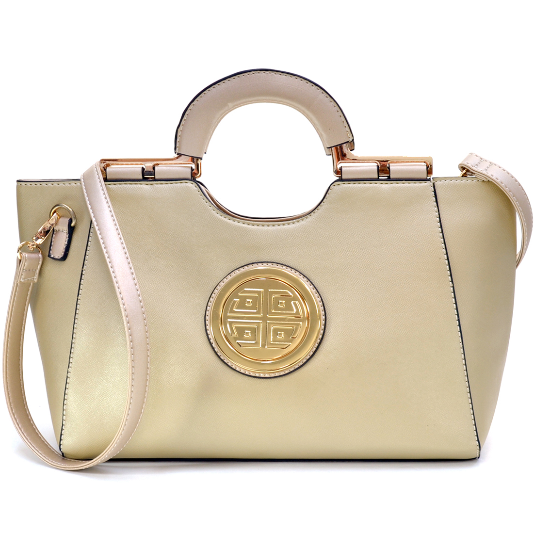 Dasein® Gold Tone Loop Handle Shoulder Bag w/ Removable Shoulder Strap