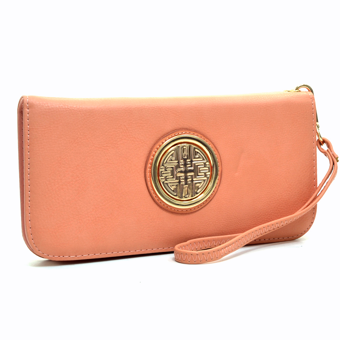 Emblem Embossed Zip Around Wallet With Removable Wrist Strap