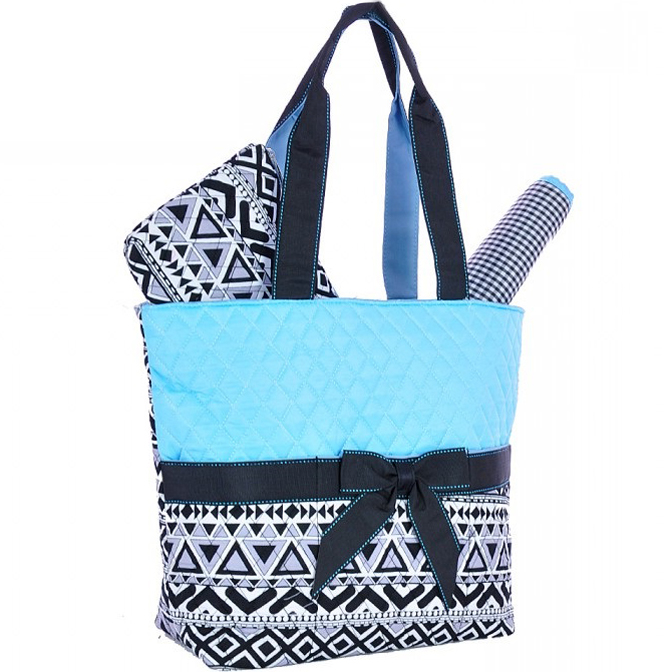 Aztec Print Quilted 3piece Diaper Tote Set with Removable Bow