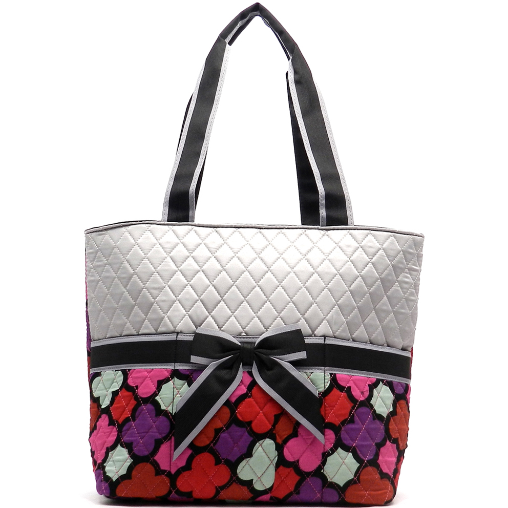 Quatrefoil Print Quilted 3piece Diaper Tote Set with Removable Bow