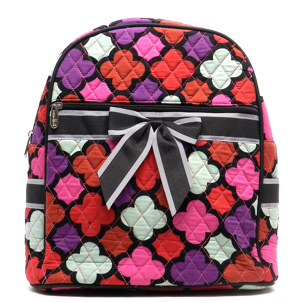 Quilted Quatrefoil Print Mini Backpack w/Convertible Shoulder Straps & Removable Bow