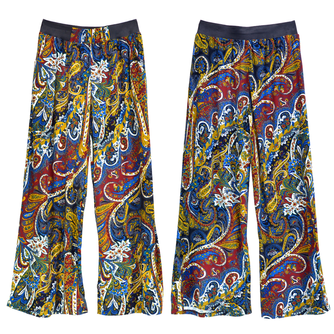 Paisely Print Palazzo Pants with Elastic Waist