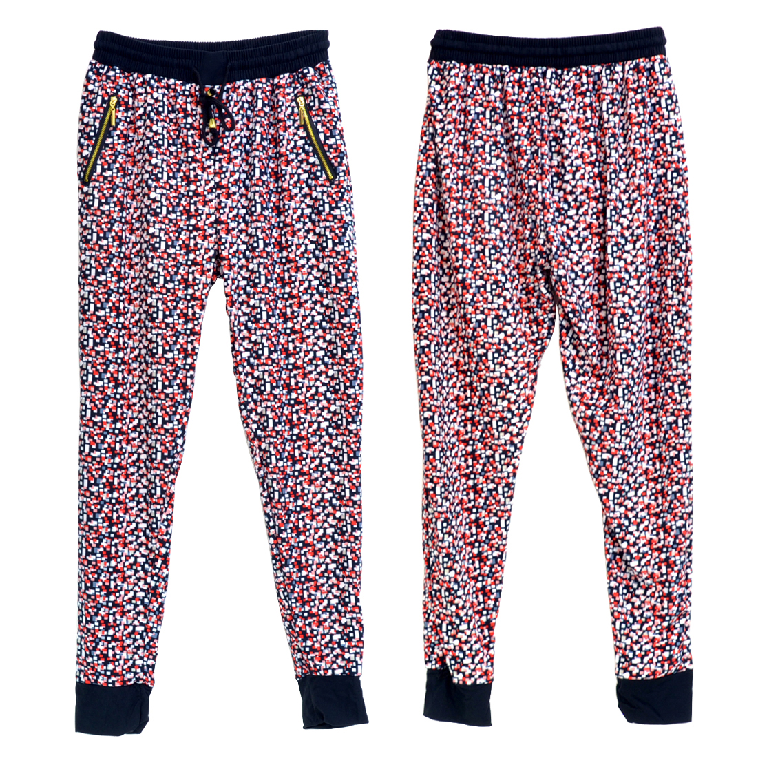 Digital Print Jogger Pants with Elastic Drawstring Waist