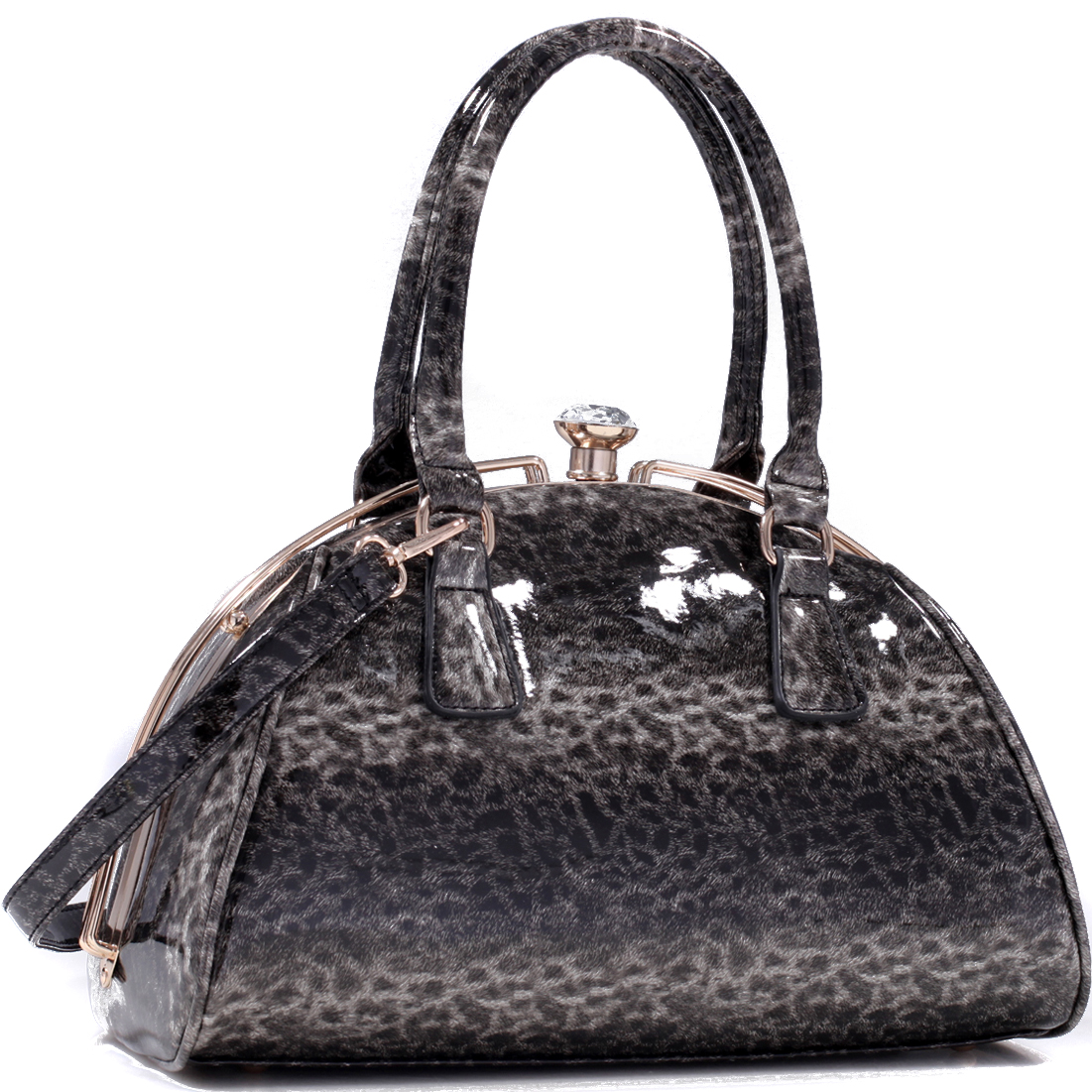 Faux Patent Leather Leopard Print Crescent Satchel