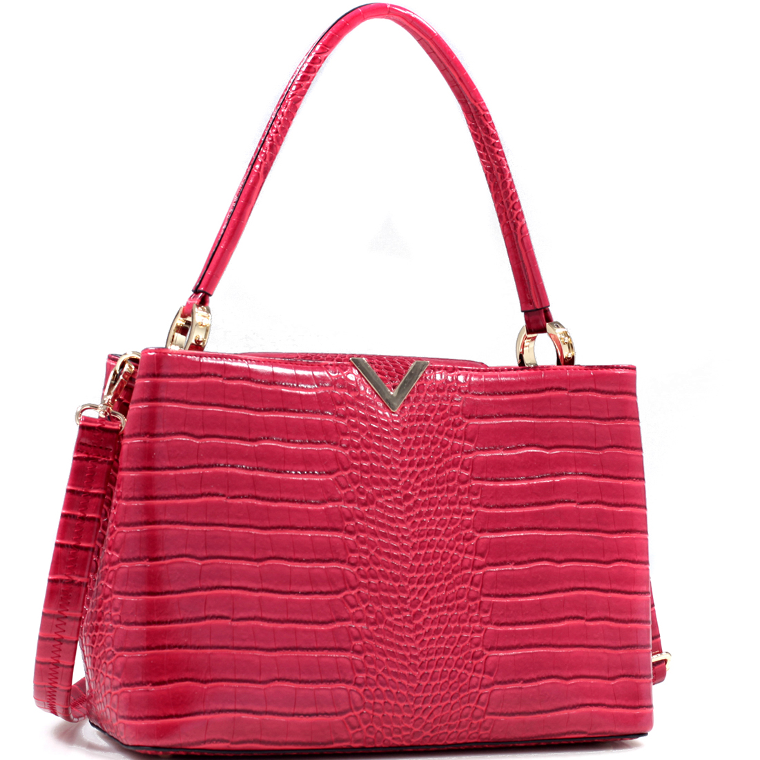 Croc Embossed V Emblem Shoulder Bag w/Removable Shoulder Strap
