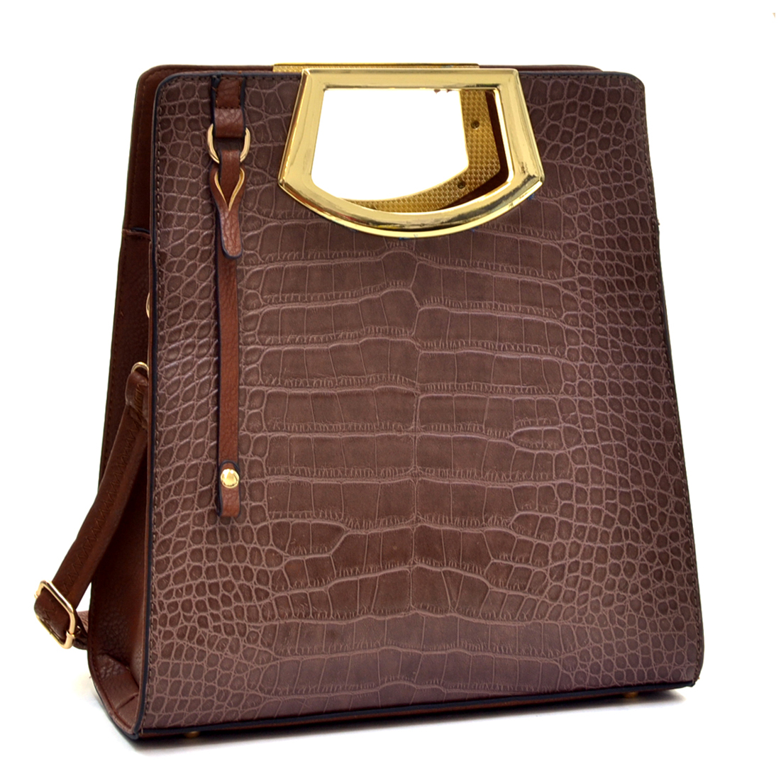 Tall Structured Croc Tote with Frame handles