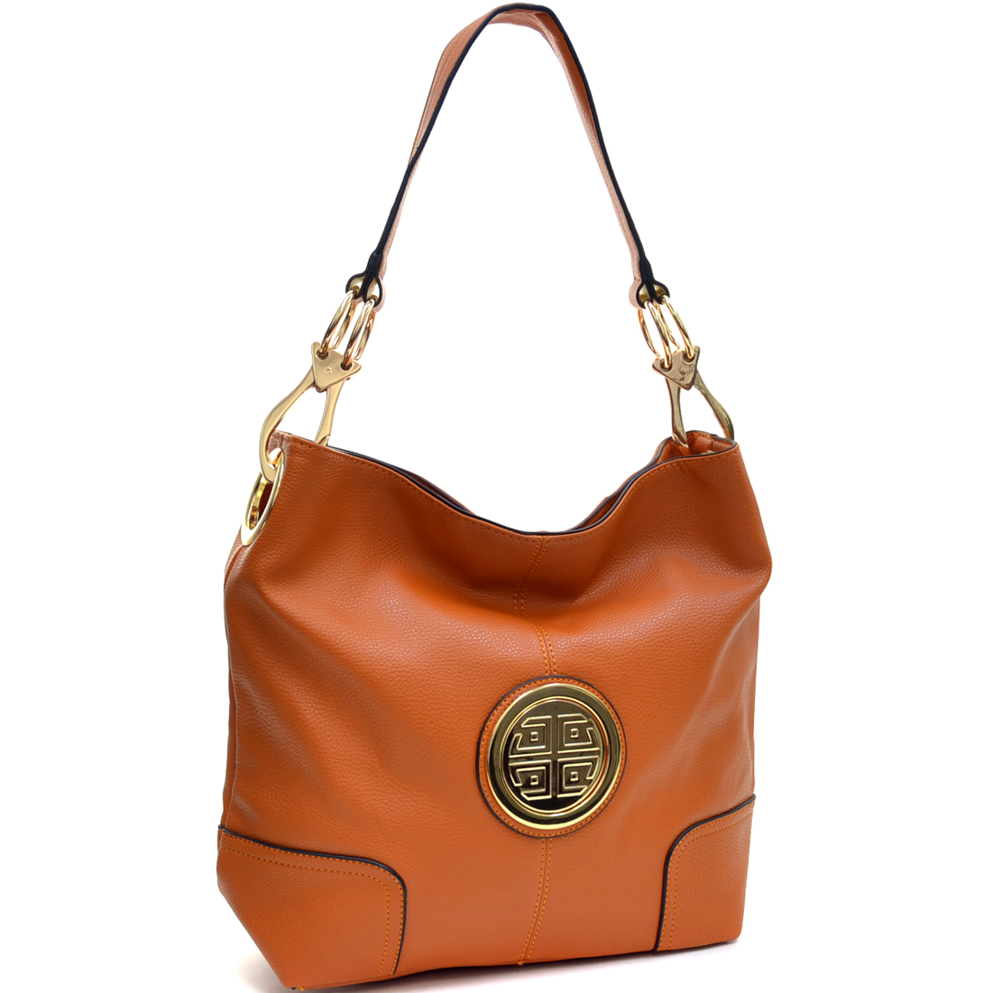 Dasein® Soft Faux Leather Emblem Tote with Removable Strap