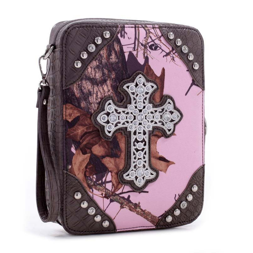 Mossy Oak Camouflage print bible cover w/croco trim and studded cross emblem - Pink