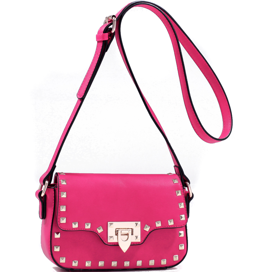 Studded Messenger Bag with Adjustable Buckle Strap