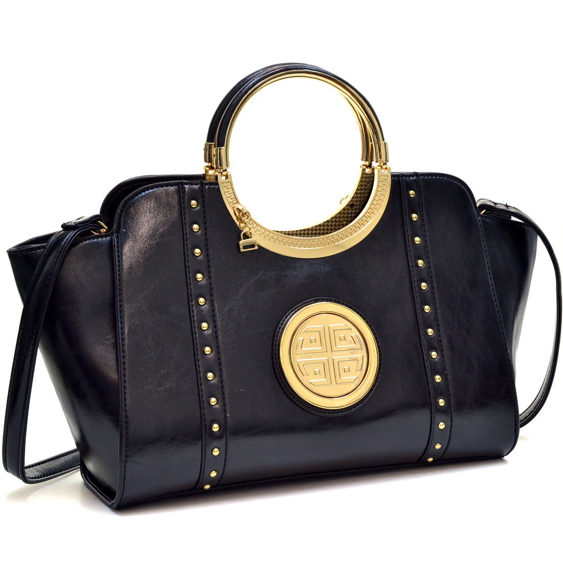 Dasein® Deep Gloss Gold Tone Studded Winged Emblem Bag