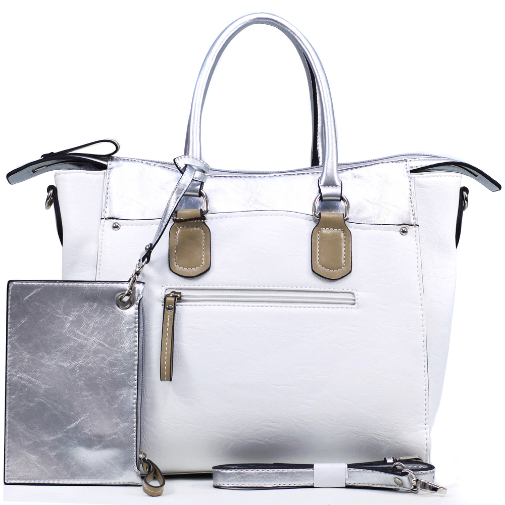 Dasein Women's Two-tone Metallic Contrast Fashion Tote Bag with Bonus Strap & Coin Pouch