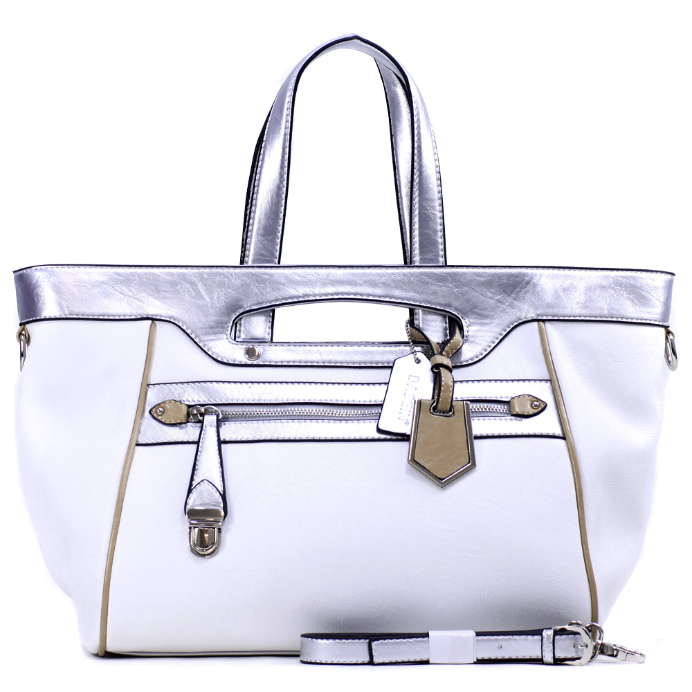 Dasein Women's Two-tone Metallic Contrast Fashion Tote Bag w/ Bonus Strap & Unique Front Zippered Pocket