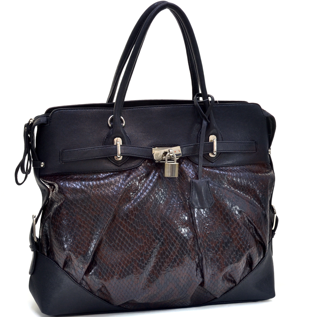 Two-Tone Lock Accent Front Python Embossed Shoulder Handbag
