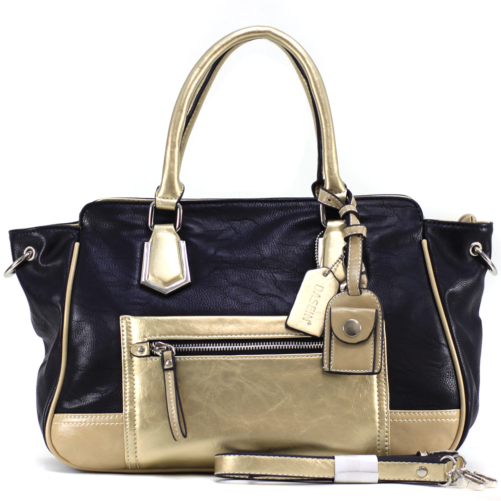 Dasein Women's Petite Two-tone Metallic Contrast Fashion Tote Bag with Bonus Strap
