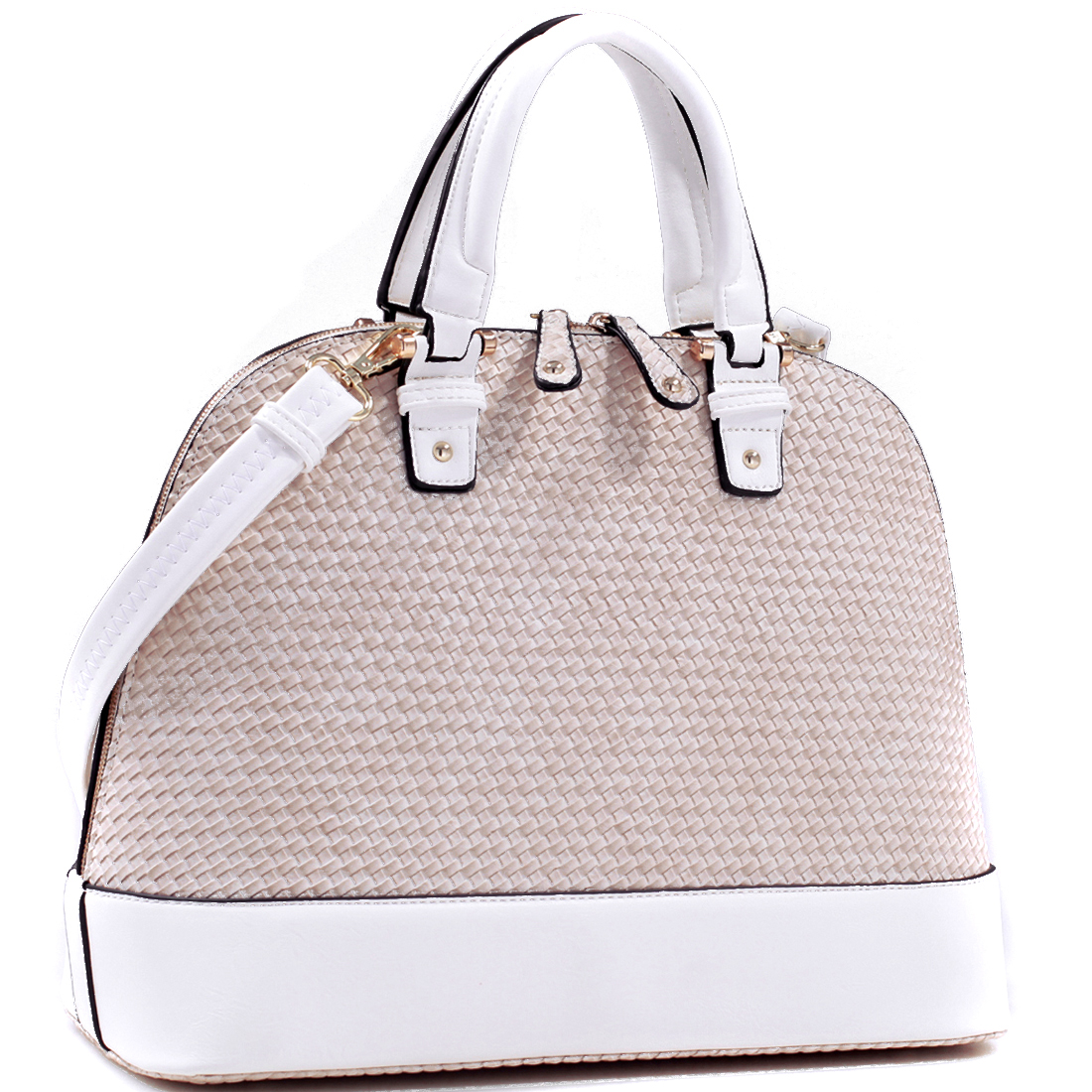 Woven Dome Zip-Around Flat Bottom Fashion Hand Bag