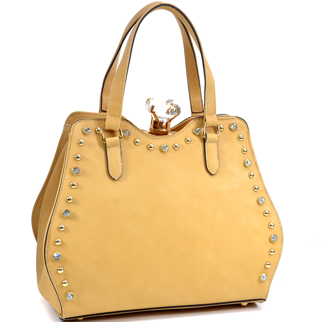 Rhinestone Gold Studded Frame Satchel With Large Jewel Stone
