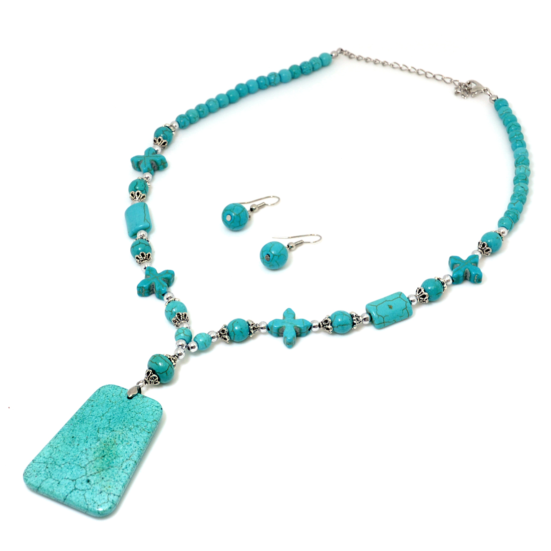 Turquoise Square Pendant with Silver-Tone Accent and Earrings
