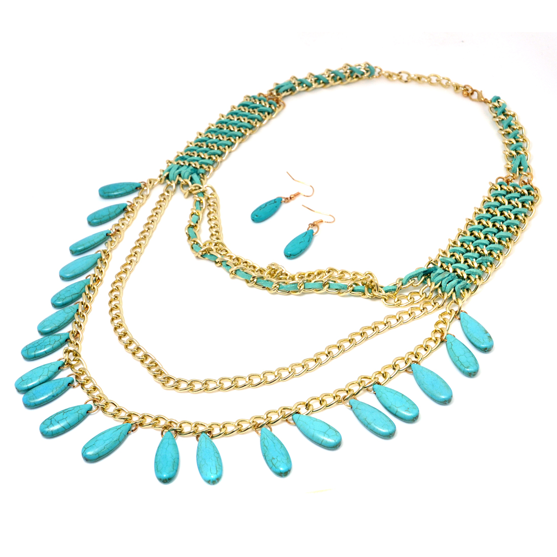Gold-Tone Turquoise Beaded 4-Tier Necklace