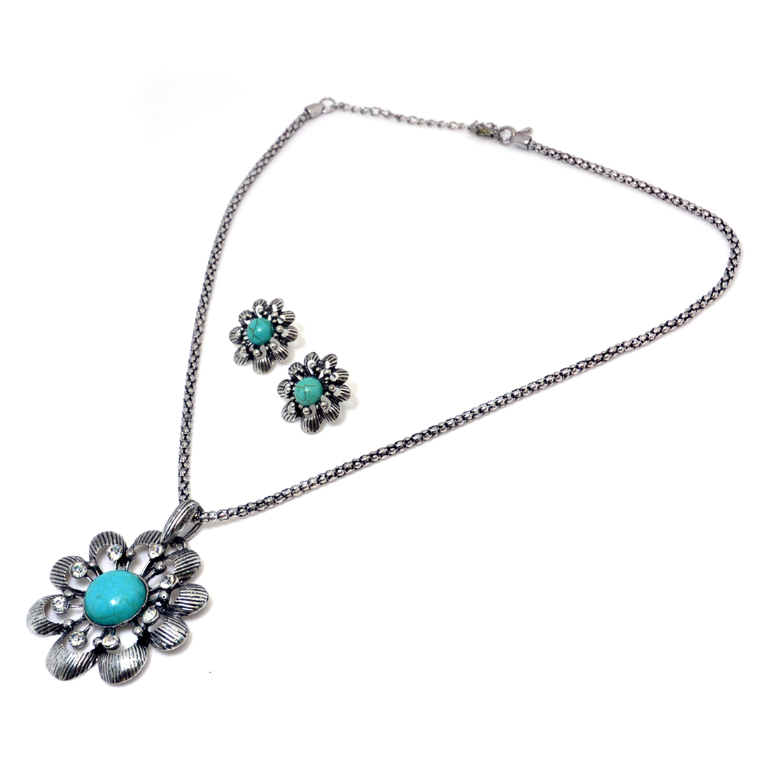 Floral Turquoise Rhinestone Pendant with Matching Earrings