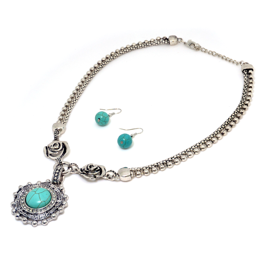 Turquoise Silver-Tone Circle Pendant with Round Earrings