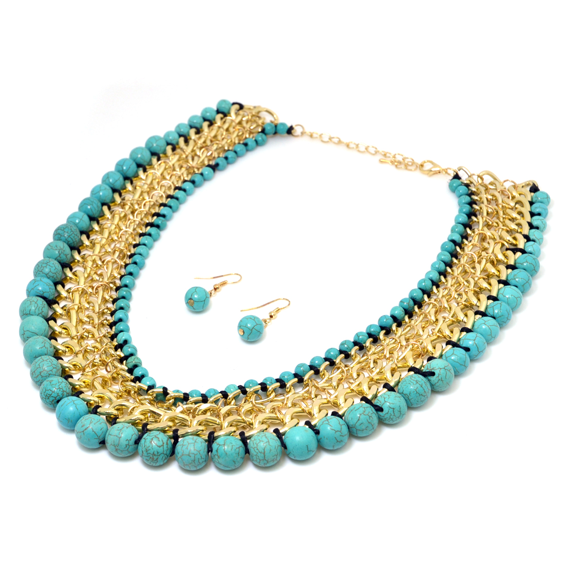 Gold-Tone Turquoise Webbed Chain