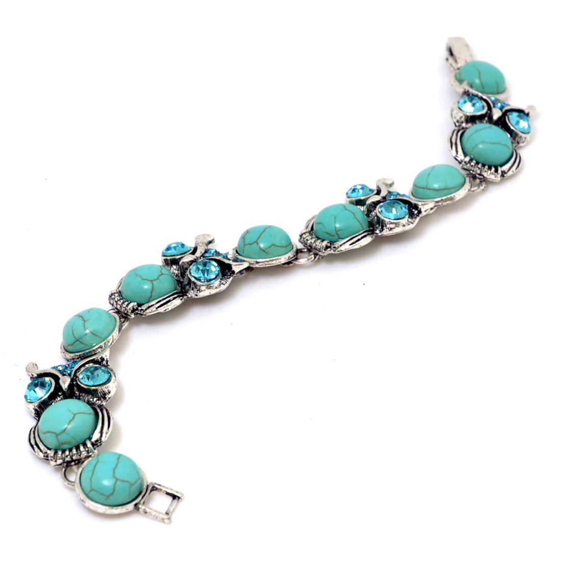 Oval-Shaped Vintage-Inspired Turquoise Bracelet