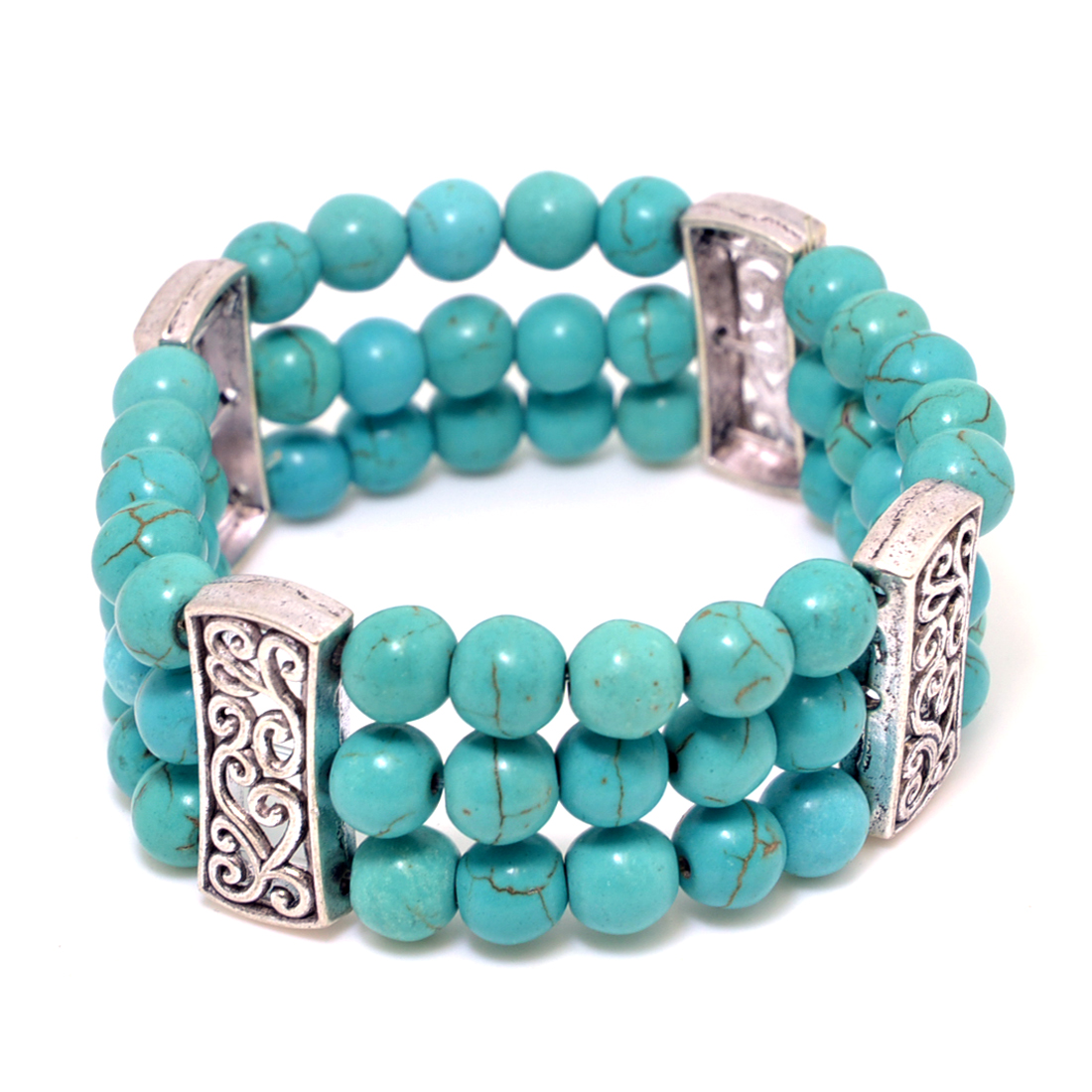3-Strand Turquoise Bracelet with Elastic Band