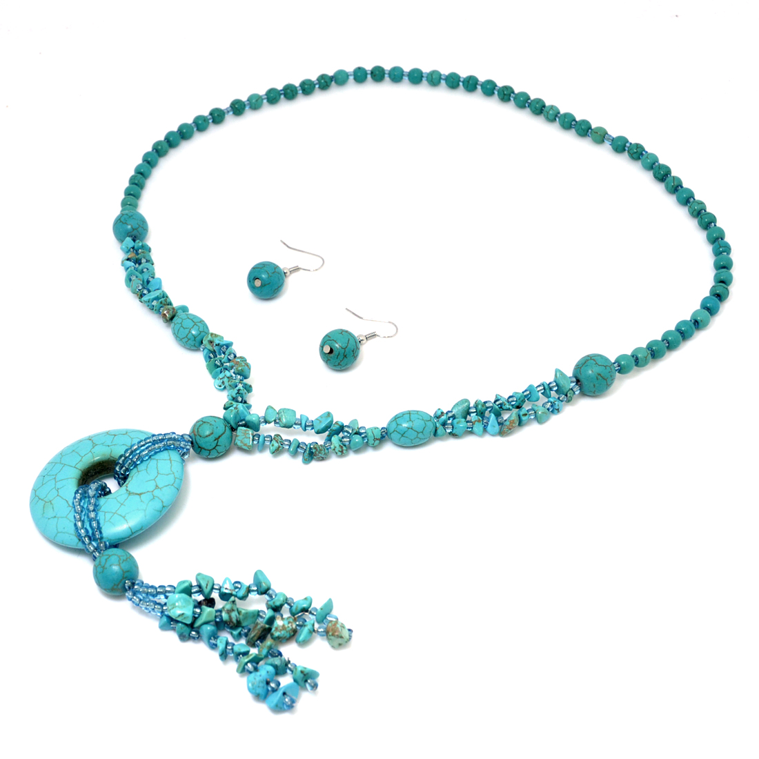 Turquoise Disc Pendant Chip Beads Necklace and Earring Set