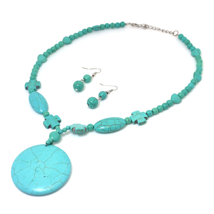 Turquoise Round Pendant Cross Necklace and Earring Set