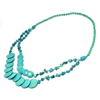 2-Strand Turquoise Chip Beaded Circle Necklace