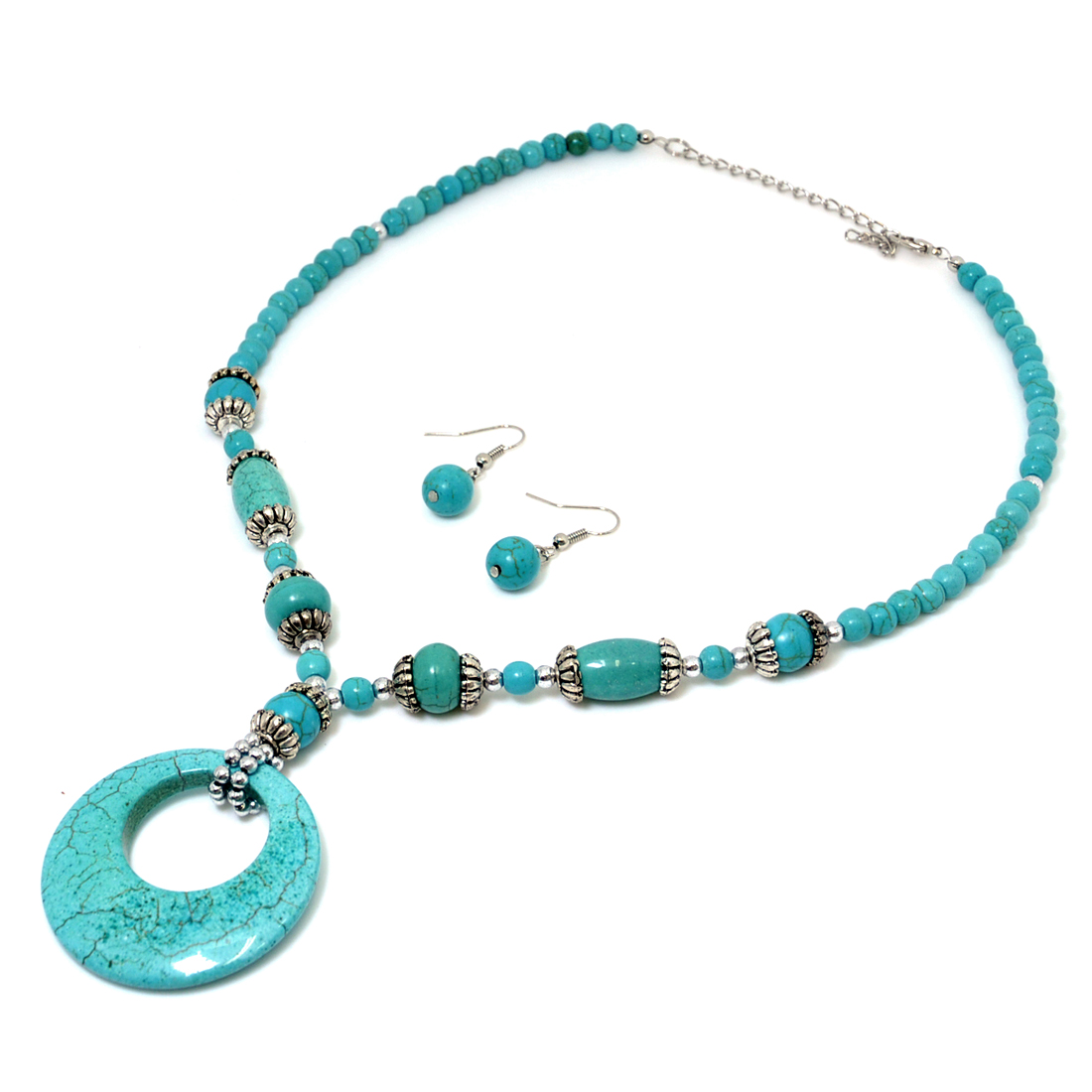Turquoise Disc Pendant with Silver-Tone Accents and Earrings
