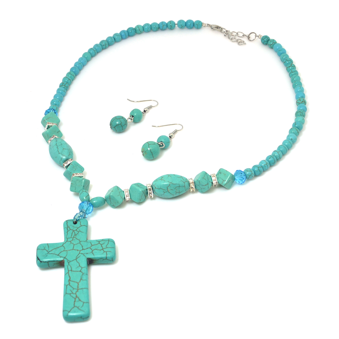 Faith-Inspired Turquoise Pendant with Silver-Tone Hardware
