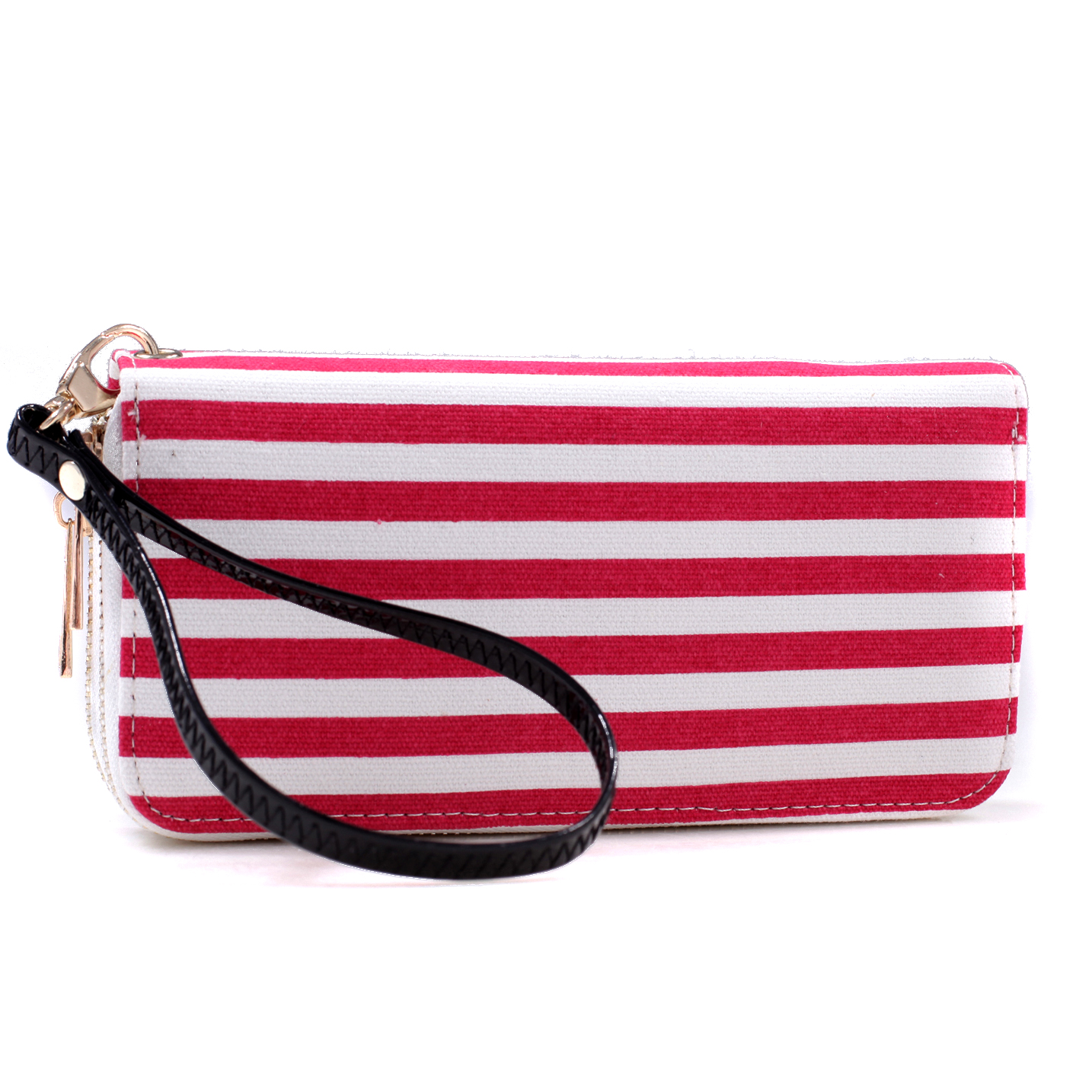 Double Zip-Around Canvas Wallet With Detachable Wristlet Strap