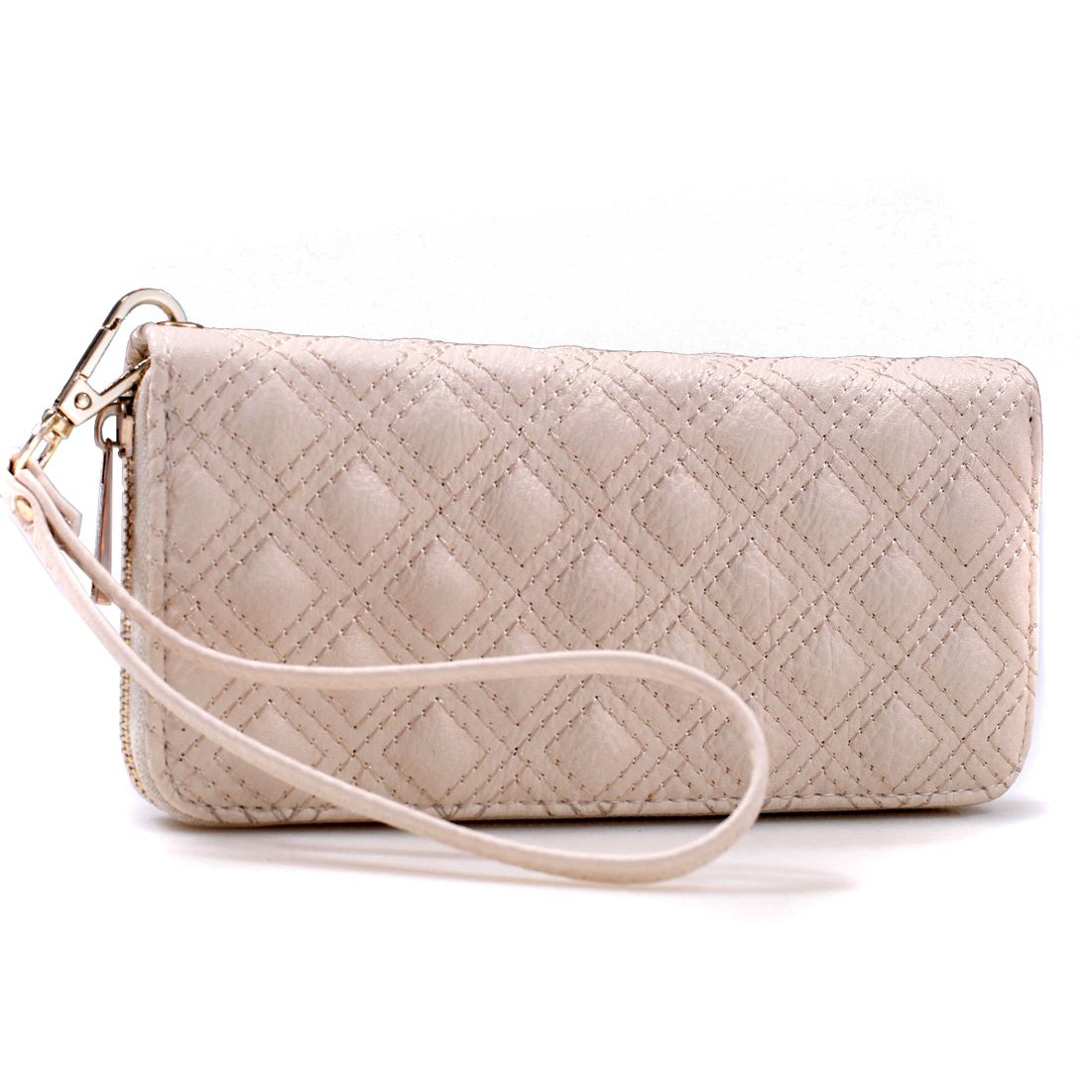 Quilted Zip-Around Wallet With Detachable Wristlet Strap