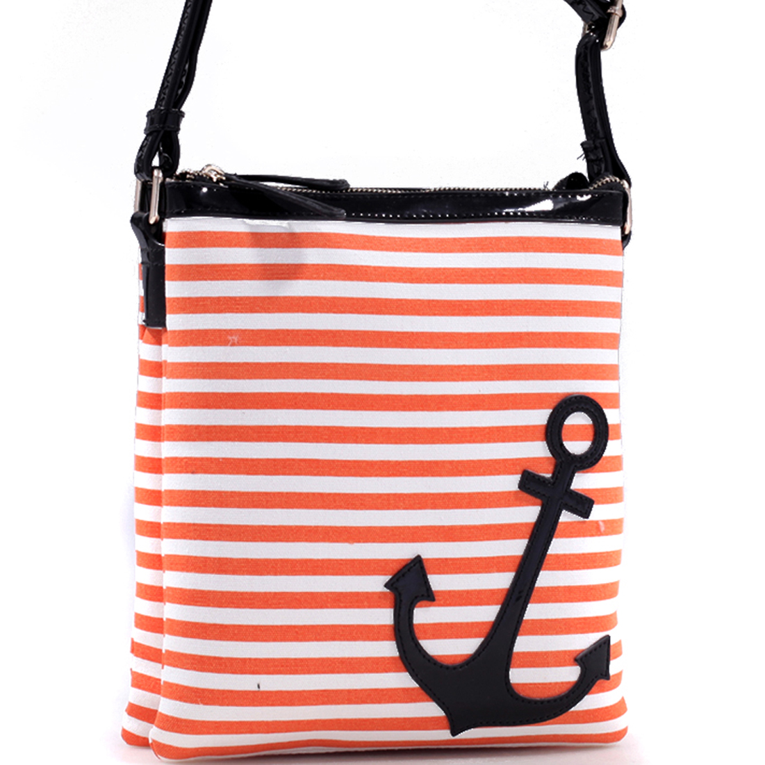 Anchor Canvas Striped Messenger Bag with Adjustable Patent Shoulder Strap