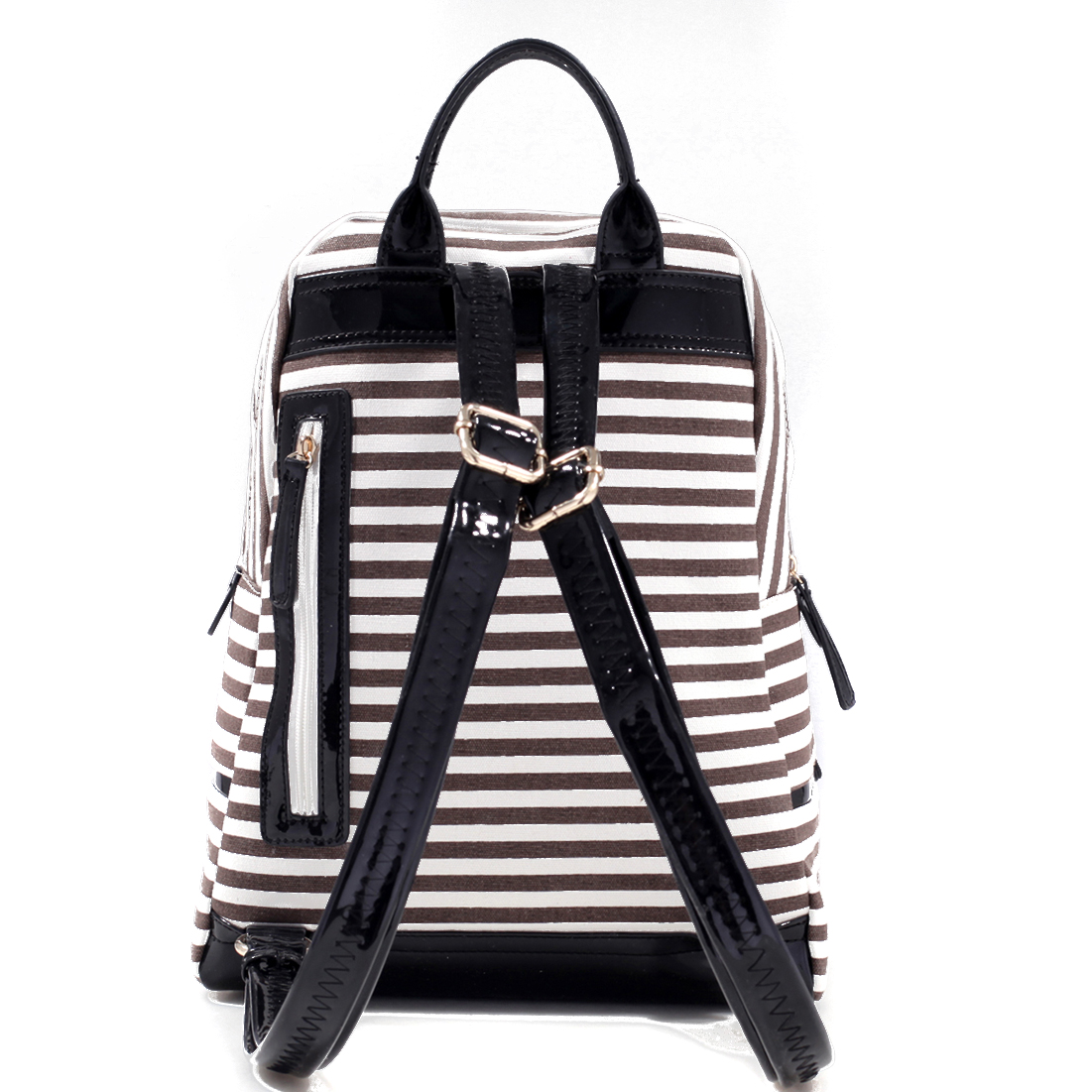 Anchor Canvas Striped Backpack with Adjustable Shoulder Straps