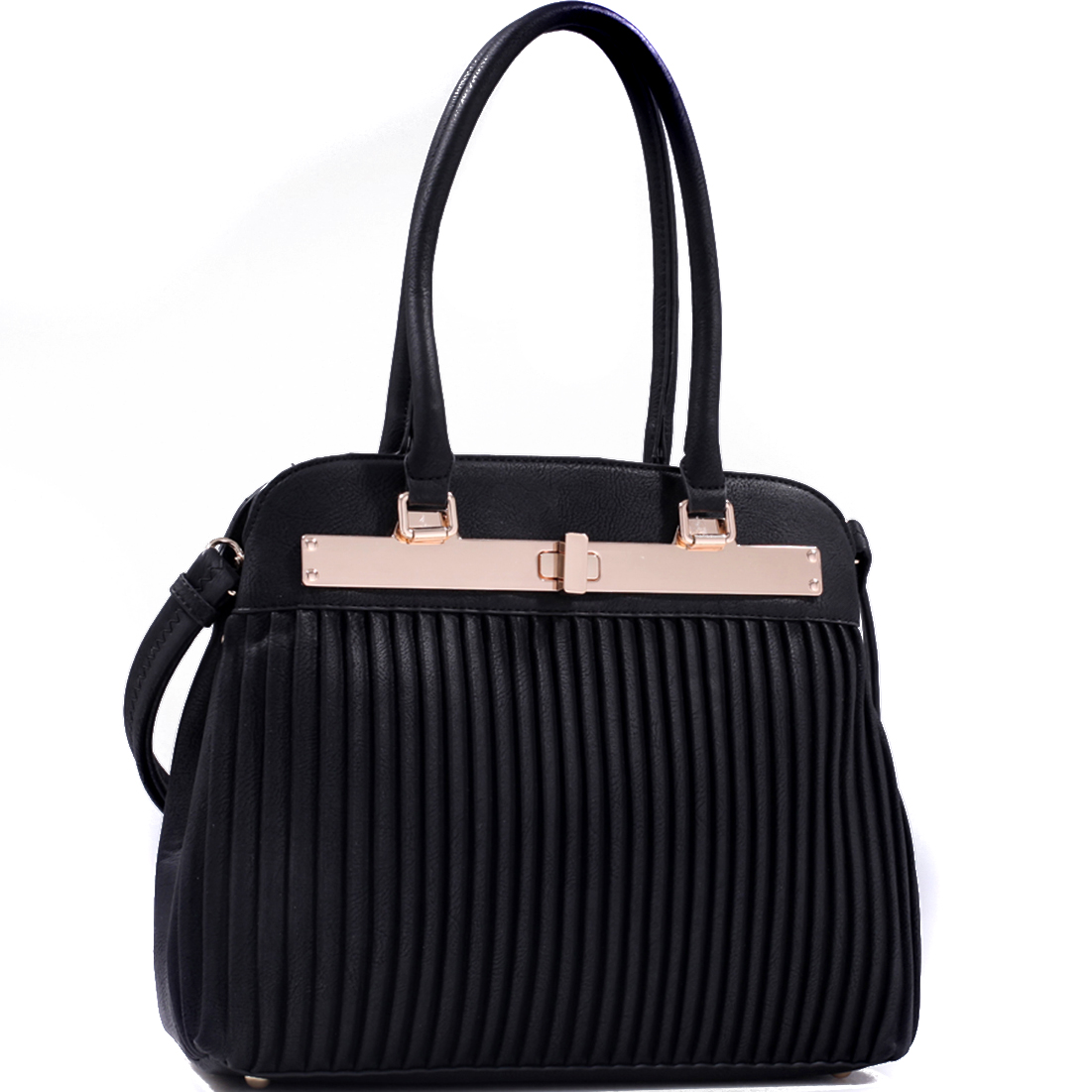 Ridged Vegan Leather Gold-Tone Handbag