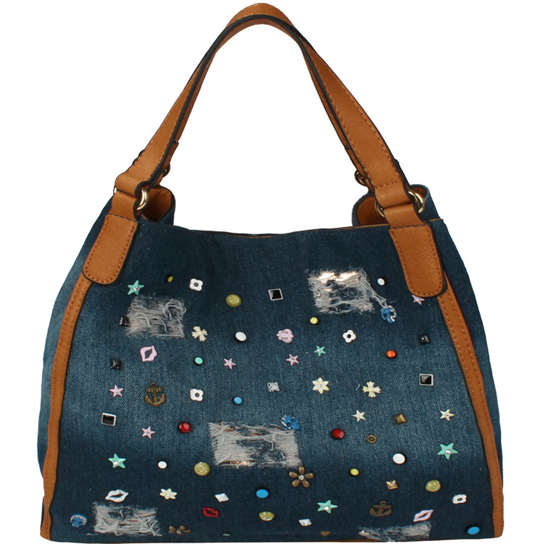 Embellishment Distressed Denim Hobo Tote
