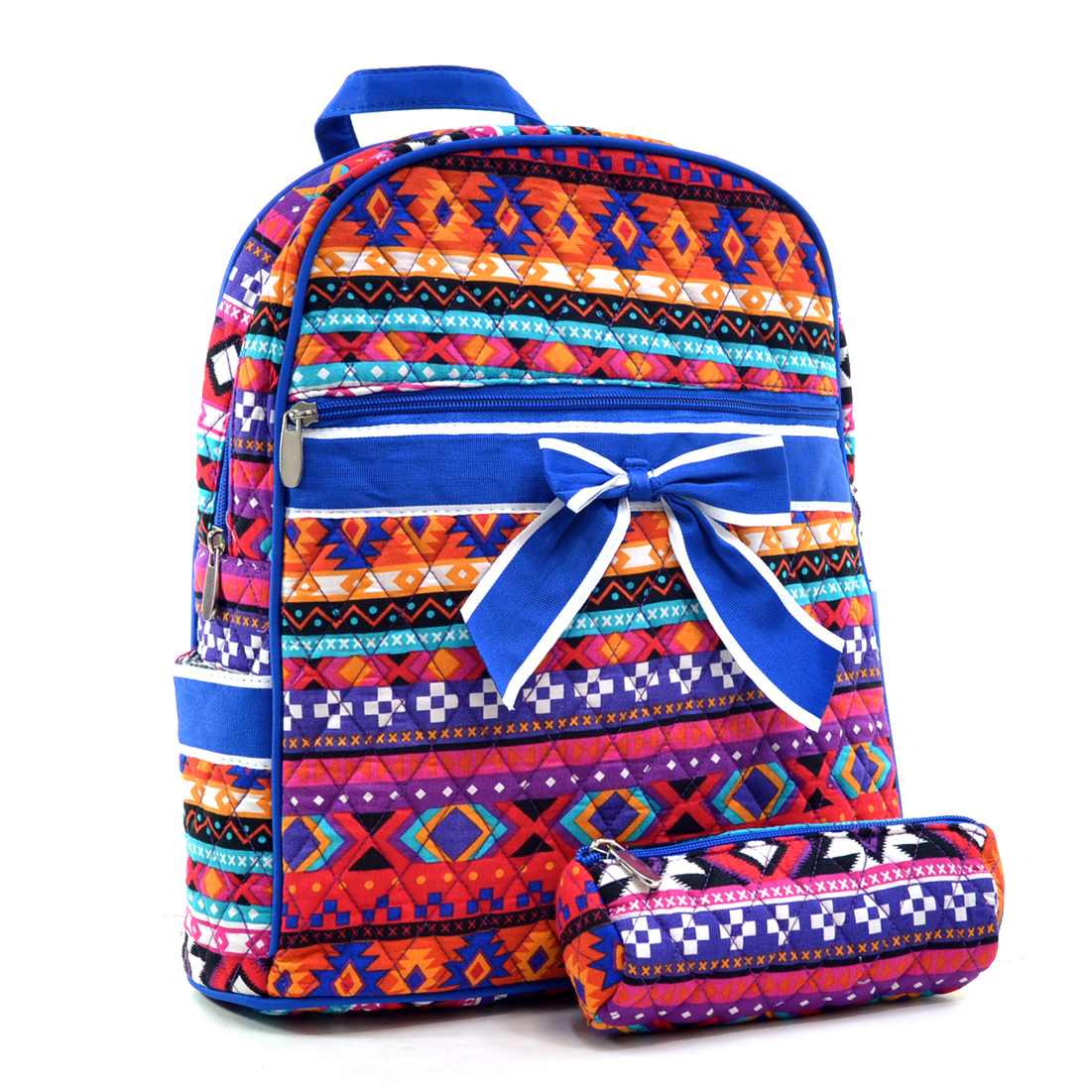 Quilted Aztec Print Mini Backpack with Convertible Shoulder Straps