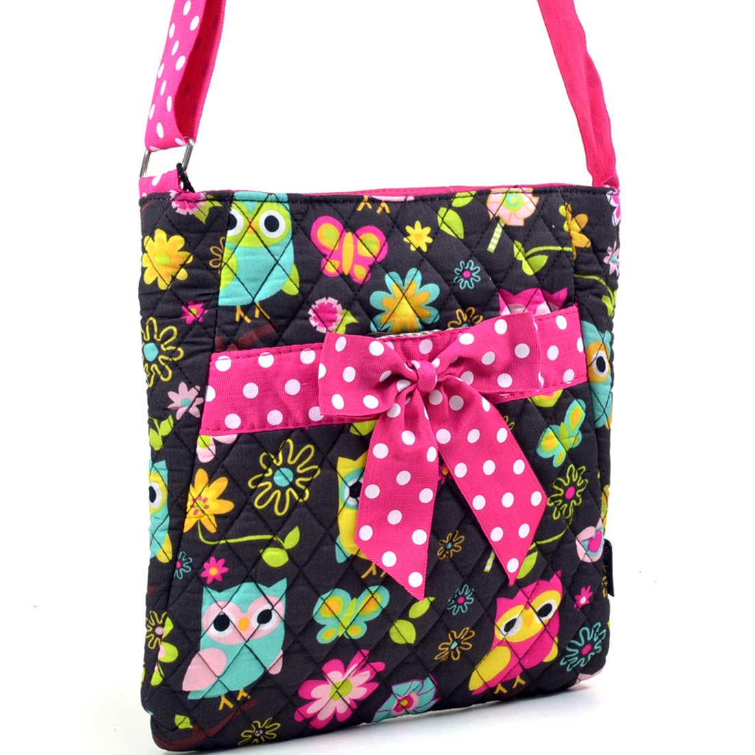 Owl Print Quilted Messenger Bag with Polka Dot Trim