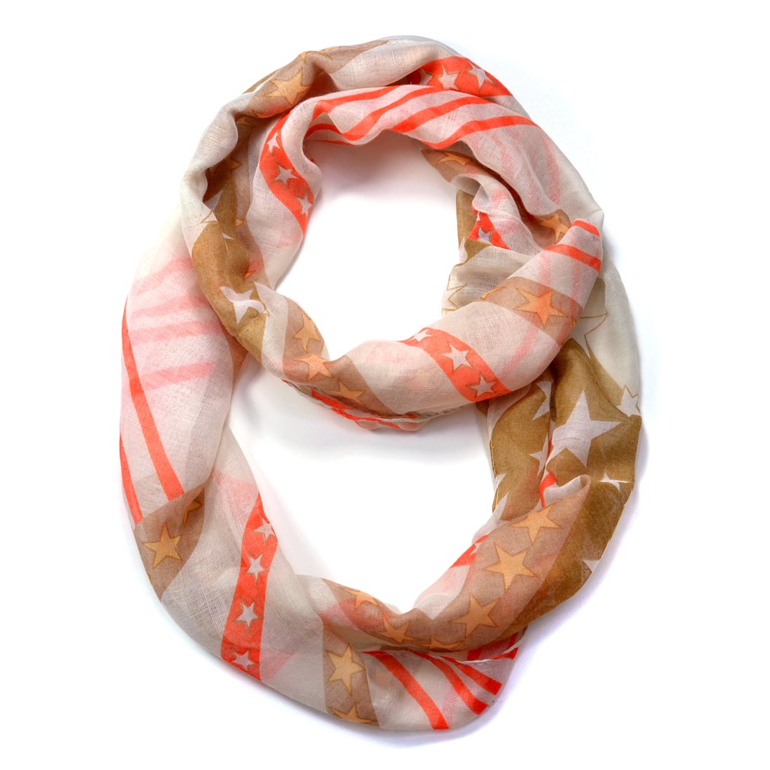 Star and Stripes Pattern Infinity Scarf
