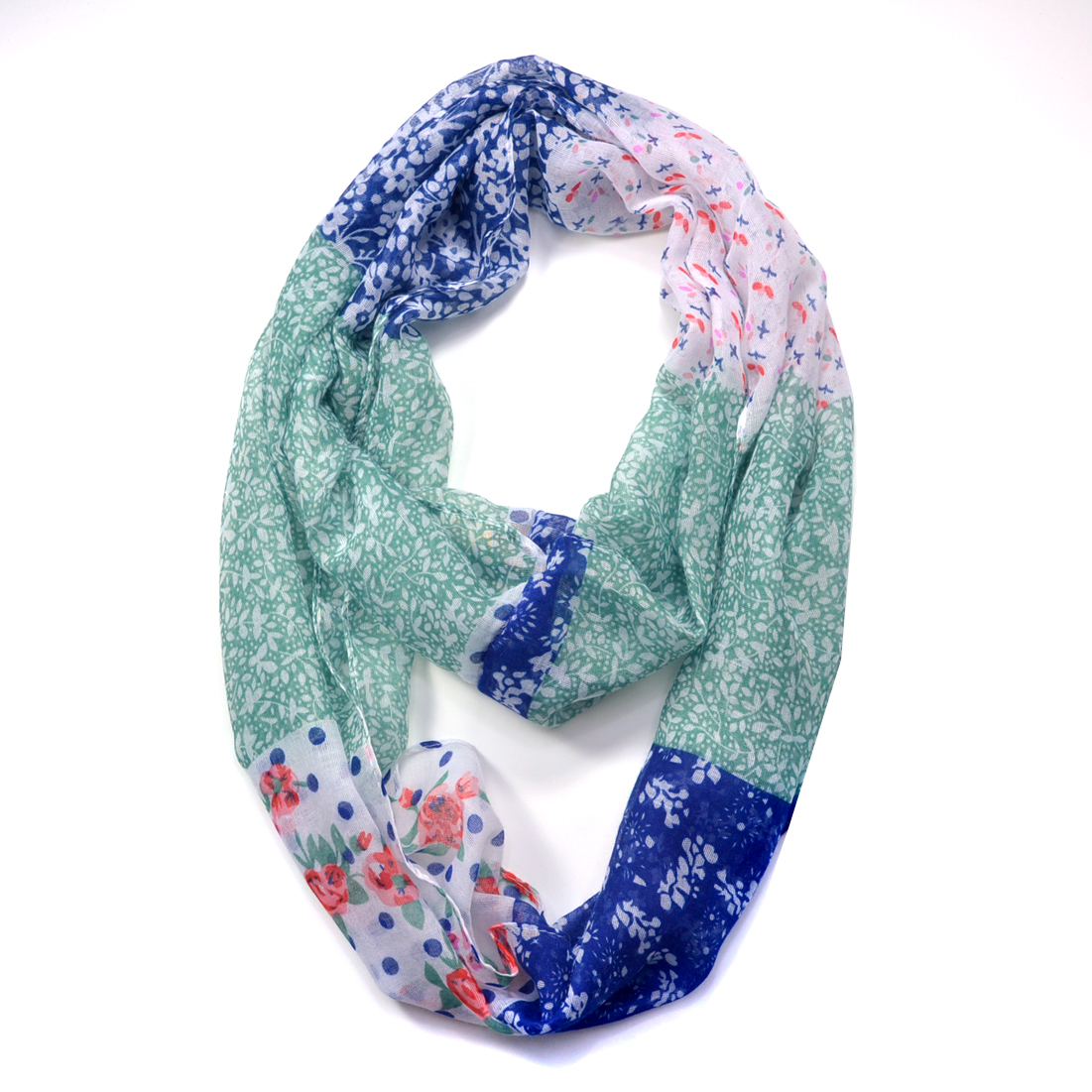 Floral Patchwork Pattern Infinity Scarf