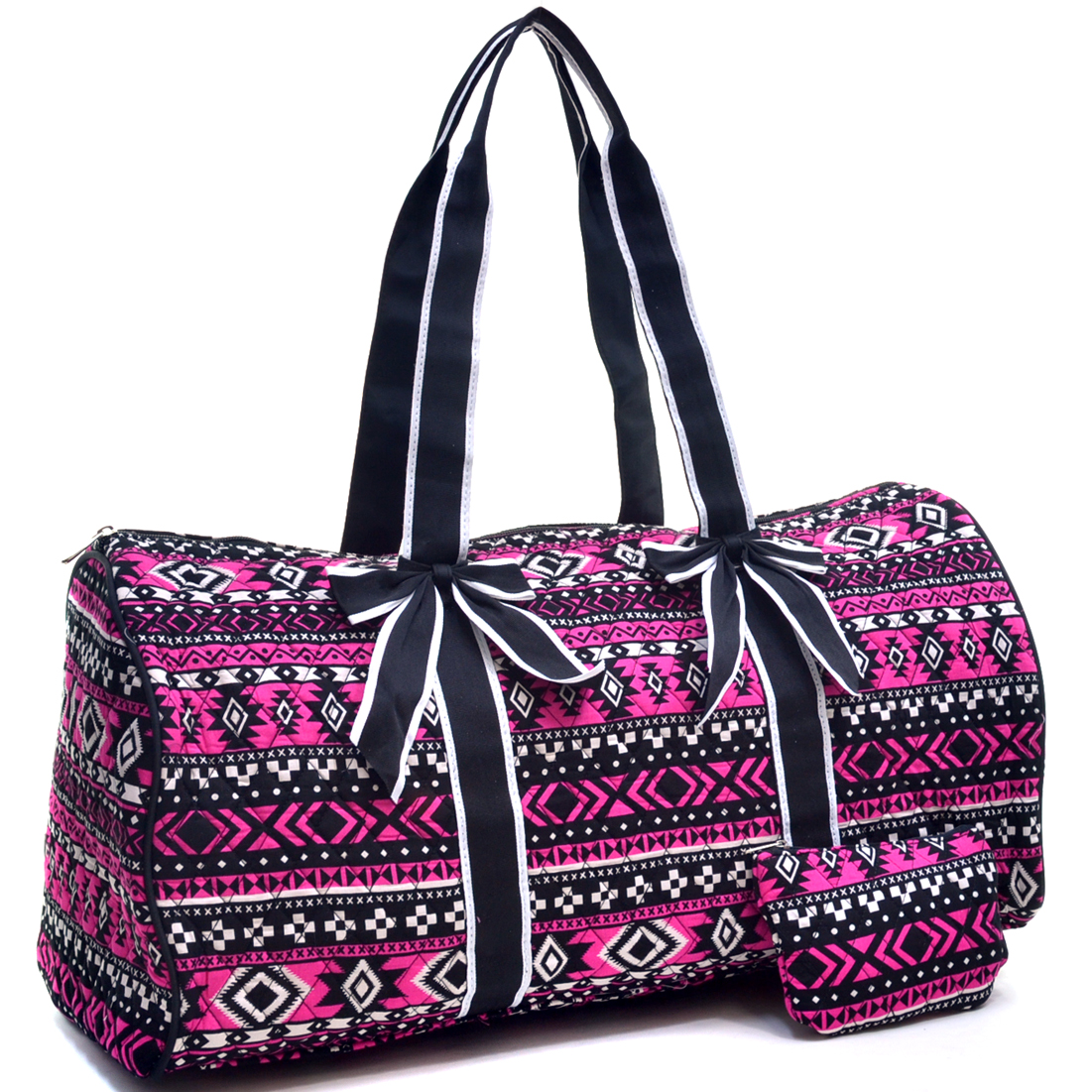 Quilted Aztec Print Duffel Bag with Removable Bows